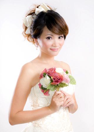 广州新娘妆:新娘结婚当天发型